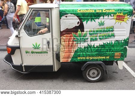 Amsterdam , Netherlands - 03 29 2021 : Canabis Ice Cream Dr Greenlove Logo And Sign Text On Van In C