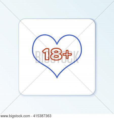 Line 18 Plus Content Heart Icon Isolated On White Background. Adults Content Only Icon. Colorful Out
