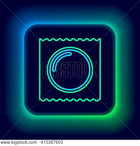Glowing Neon Line Condom In Package Safe Sex Icon Isolated On Black Background. Safe Love Symbol. Co