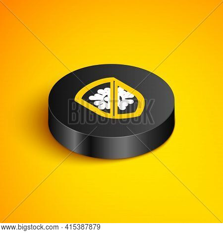 Isometric Line Stop Virus, Bacteria, Germs And Microbe Icon Isolated On Yellow Background. Antibacte