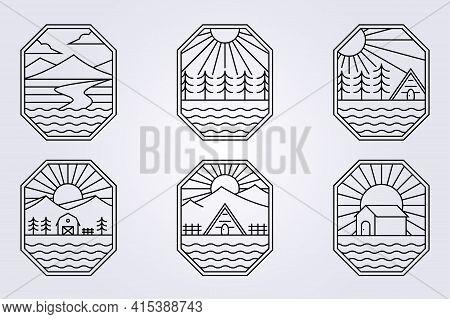 Line Art Cabin Cottage Barn Forest Logo Mountain River Ocean Lake Creek Vector Illustration Design I