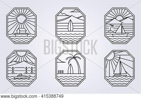 Line Art Surf, Outdoor Ocean Mountain Logo Vector Illustration Design Sail Boat Creek River Icon Sym