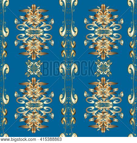 Seamless Pattern Oriental Ornament. Floral Tiles. Golden Pattern On Brown, Beige And Blue Colors Wit