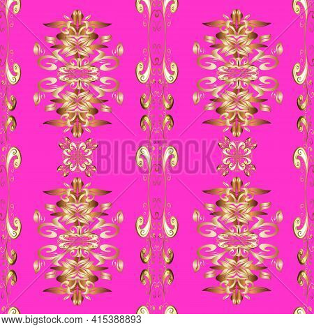 Golden Element On Magenta, Brown And Beige Colors. Golden Floral Ornament In Baroque Style. Damask S