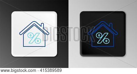 Line House With Percant Discount Tag Icon Isolated On Grey Background. House Percentage Sign Price.