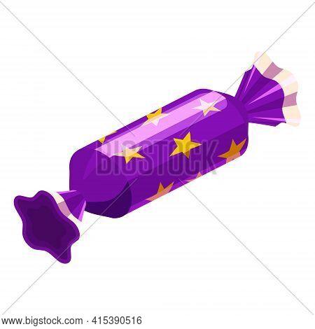 Candy Isometric Wrapped Festive Bonbon Caramel Color. Vector