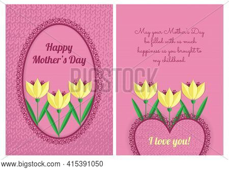 Double-sided Pink A6 Or A5 Mother's Day Postcard Template For Printing. Illustration With Tulips, La