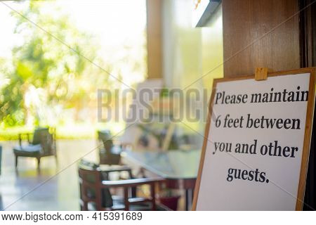 Social Distancing Sign Please Maintain 6 Feet Between You And Other Guests At A Restaurant Pub, Reso