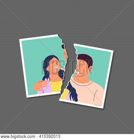 Torn Photo Of Happy Young Couple Template. Divorce, Break Up, End Of Relationship Concept