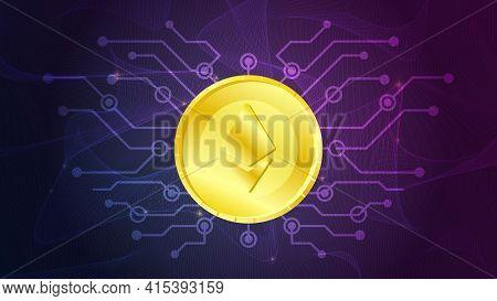 Ethereum Sign On Golden Coin Futuristic Neon Purple Background