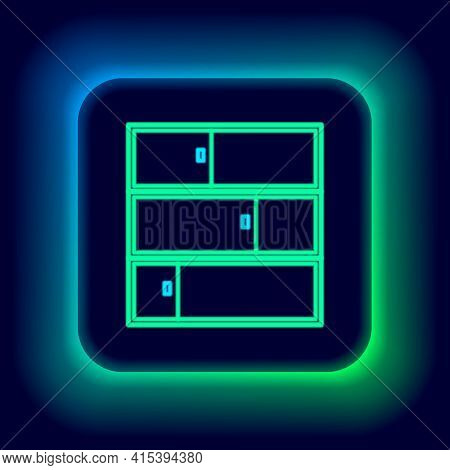 Glowing Neon Line Shelf Icon Isolated On Black Background. Shelves Sign. Colorful Outline Concept. V
