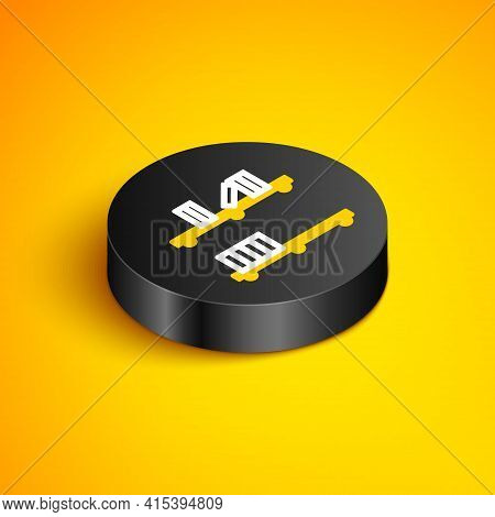 Isometric Line Shelf With Books Icon Isolated On Yellow Background. Shelves Sign. Black Circle Butto