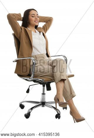 Young Businesswoman Relaxing In Comfortable Office Chair On White Background