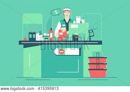 Supermarket Female Worker At Checkout Vector Illustration. Bunch Of Fresh Organic Food And Drinks Fl