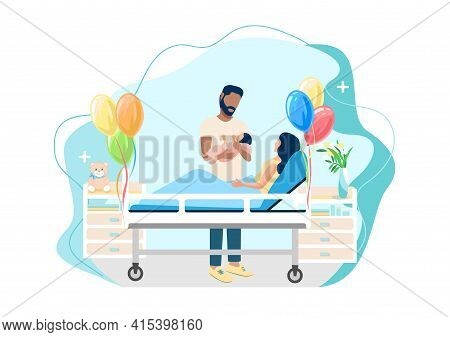 Vector Illustration Of A Family Couple Gently And Caringly Hugs Their Newborn Baby. Childbirth, Fami
