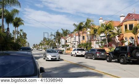 Oceanside, California Usa - 27 Jan 2020: Typical Suburban Street. Different Houses In Row. Generic A