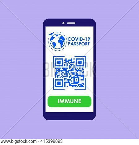 Vaccine Passport. A Smartphone App With A Qp Code For Travel During The Coronavirus Pandemic. Vector
