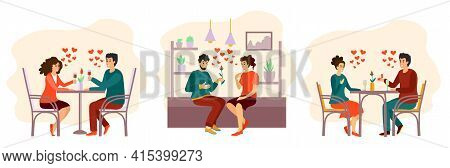 Romantic Dinner Dating Couples Flat Isolated Characters Collection With Lovers. Collection Of Romant