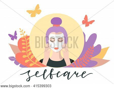 Facial Care, Cosmetic Mask. Self Care Concept. Skin Care Procedure. Facial Treatment. Everyday Beaut