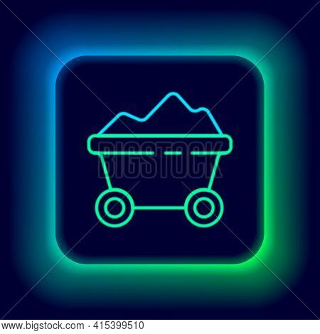Glowing Neon Line Coal Mine Trolley Icon Isolated On Black Background. Factory Coal Mine Trolley. Co