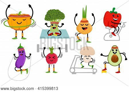 Cute Cartoon Vegetables Go In For Sports. Funny Vegetables Cartoon Character. Cute Food Characters S