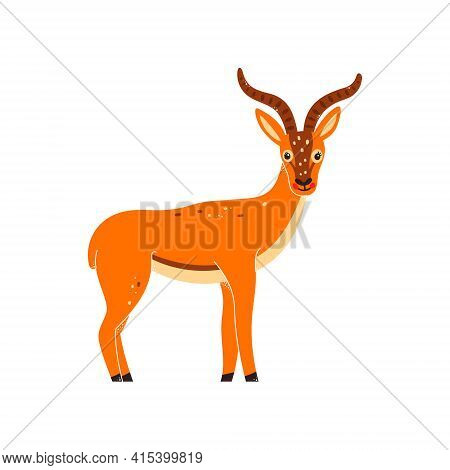 Vector Illustration Of A Gazelle, Antelope On A White Isolated Background