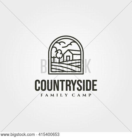Countryside Barn Logo Vector Symbol Illustration Design, Line Art Cottage Logo Design