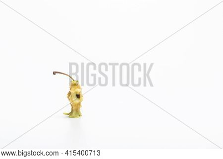 Apple Stub On A White Background. An Eaten Apple Core Isolated On White Background.