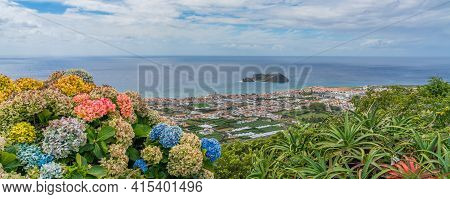 Arial View Of Vila Franca Do Campo Town With Its Famous Volcanic Islet Near The Coast. Sao Miguel Is