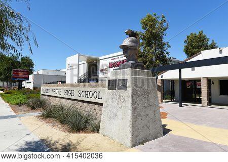 GARDEN GROVE, CALIFORNIA - 31 MAR 2021: Argonaut  Statue at Garden Grove High School.