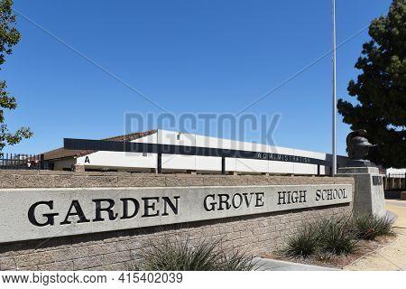GARDEN GROVE, CALIFORNIA - 31 MAR 2021: Sign at Garden Grove High School home of the Argonauts was the first high school in the city.