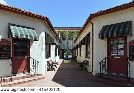 GARDEN GROVE, CALIFORNIA - 31 MAR 2021: The Arcade Building in Downtown Garden Grove houses small business and the Chamber of Commerce.
