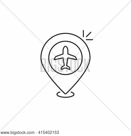 Geolocation Pin With Linear Plane. Concept Of Airport Finder Or Map Element. Flat Stroke Style Trend