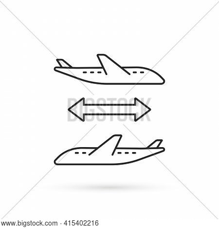 Thin Line Connecting Flight Icon. Flat Stroke Modern Logotype Lineart Graphic Art Design Isolated On