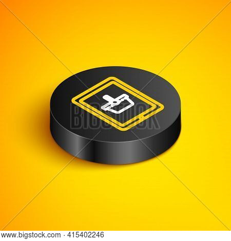 Isometric Line Shopping Basket On Screen Tablet Icon Isolated On Yellow Background. Concept E-commer