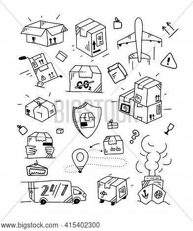 Doodle Delivery Set. Outline Logistics Collection. Hand Drawn Transportation Elements. Doodle Box An
