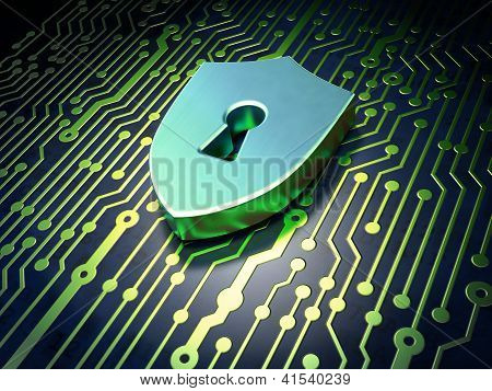 Security concept: circuit board with Shield With Keyhole icon