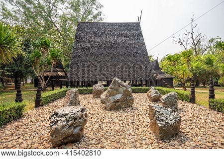Chaing Rai, Thailand - March 3,2021 : View Of Thawan Duchanee Collection Museum Or Black House In Ch