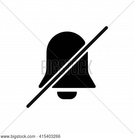Silent Mode Or Notification Bell Solid Black Line Icon. Trendy Flat Minimal Isolated Symbol, Can Be
