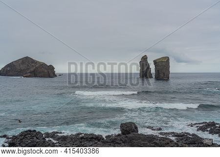 Mosteiros Beach With The Islands, Volcanic Rocks In Sao Miguel, Azores With The Island Rocks
