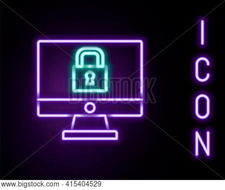 Glowing Neon Line Lock On Computer Monitor Screen Icon Isolated On Black Background. Security, Safet