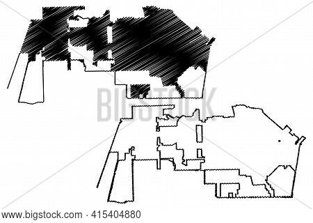 Pearland City, Texas (united States Cities, United States Of America, Usa City) Map Vector Illustrat