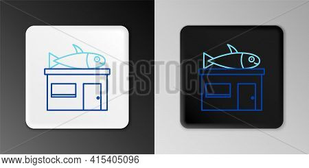Line Seafood Store Icon Isolated On Grey Background. Facade Of Seafood Market. Colorful Outline Conc