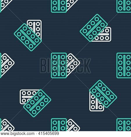 Line Pills In Blister Pack Icon Isolated Seamless Pattern On Black Background. Medical Drug Package