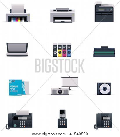 Vector office electronics icon set
