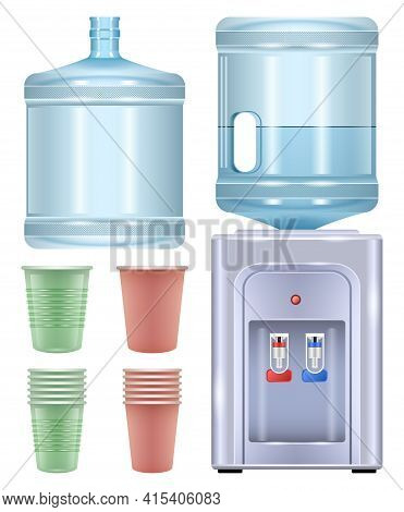 Water Cooler Vector Realistic Set Icon. Vector Illustration Bottle On White Background. Isolated Rea