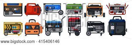 Petrol Generator Isolated Cartoon Set Icon. Vector Illustration Alternator On White Background. Vect
