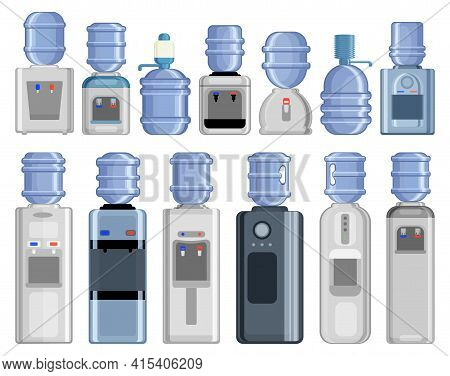 Water Cooler Vector Cartoon Set Icon. Vector Illustration Bottle On White Background. Isolated Carto