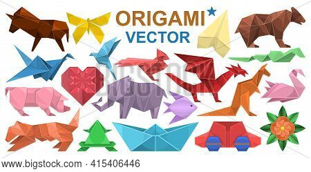 Origami Vector Cartoon Set Icon. Vector Illustration Paper Animal On White Background. Isolated Cart