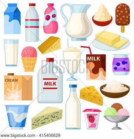 Milk Product Vector Cartoon Set Icon. Vector Illustration Food On White Background. Isolated Cartoon